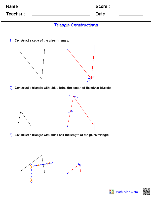 Triangles constructions worksheets geometry math interior and exterior angles teaching also best flash cards images high school maths classroom rh pinterest