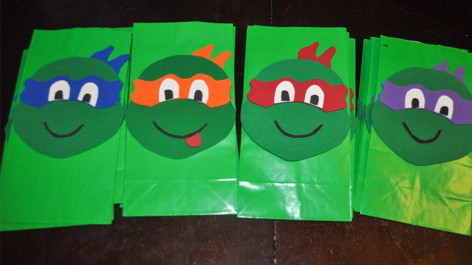 TMNT Party Ideas - DIY Ninja Turtle Goodie Bags | Goodie bags ...