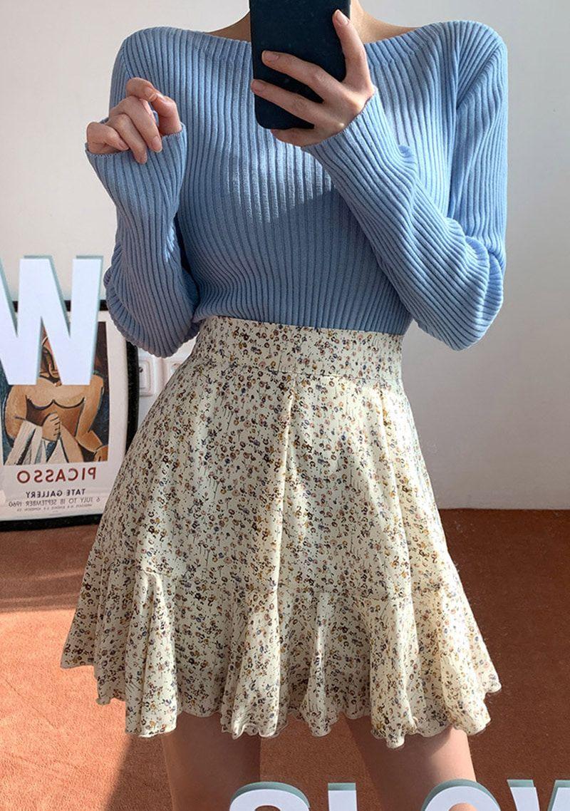 Falling In Spring Frill Skirt #springskirtsoutfits