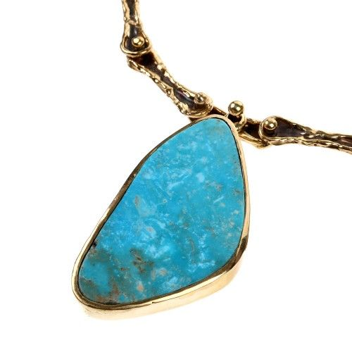 Collier Turquoise Or Ton Globe Oculaire - Taille Lisa Bijoux Eisner 2sKh3