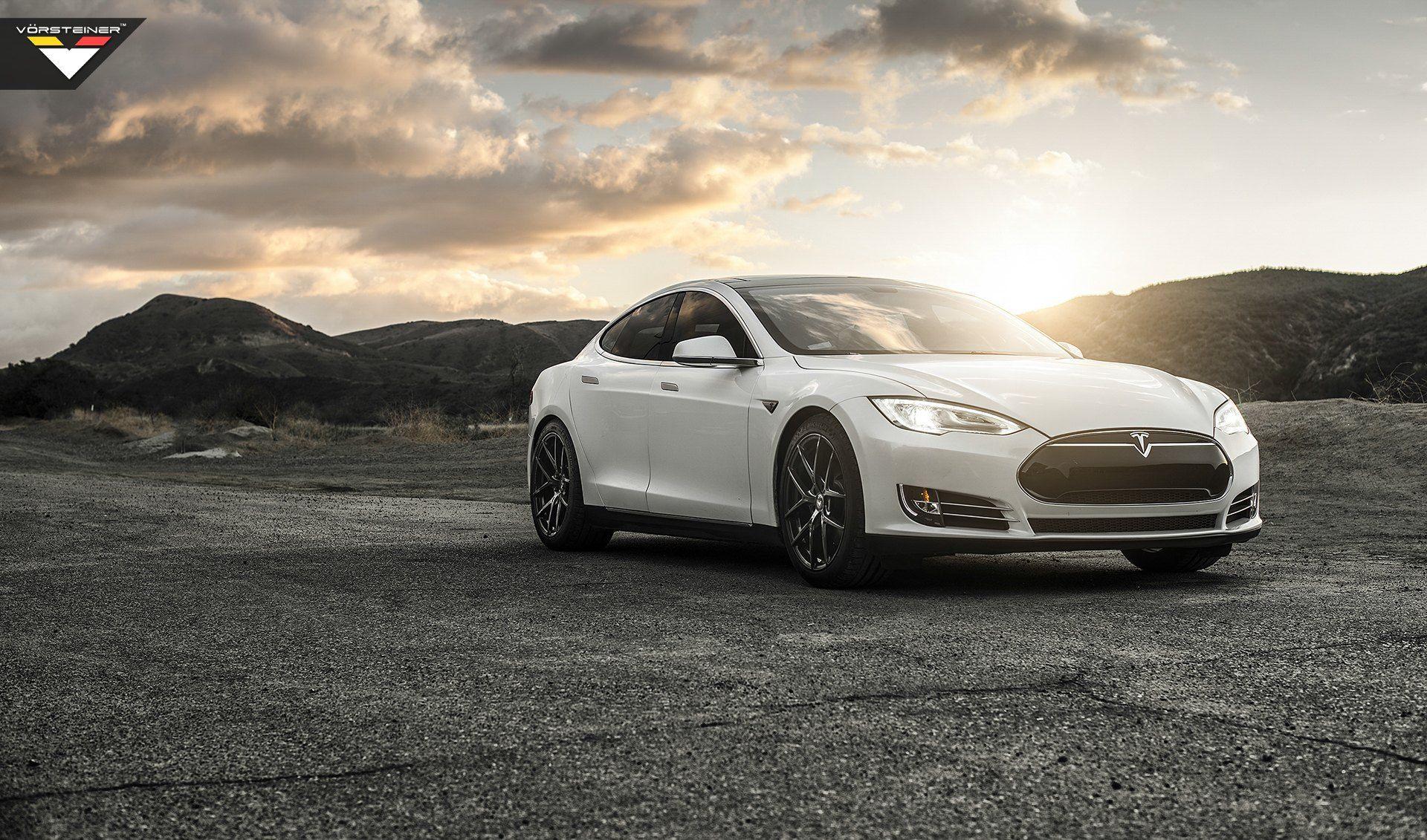 Beautiful Angel White Tesla Model S with New Eyes Tesla