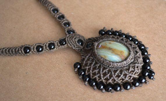 Macrame necklace onyx necklace boho necklace