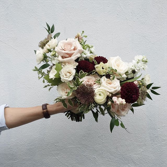 A Bridal Bouquet For Jenn By Heather Page With Dahlias Chocolate Cosmos And Queen Anne S Lace Wedding Flowers Summer Lace Bouquet Floral Wedding