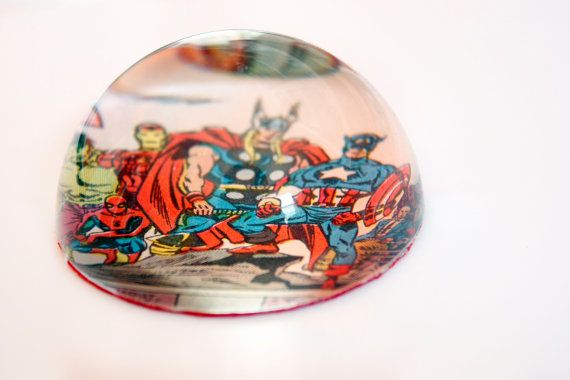 Recycled vintage comic book paperweight by comicsalvage on Etsy