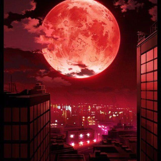 Pin On Fantasy Artwork Anime wallpaper red moon