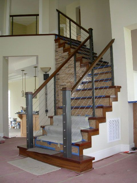 Best Wood And Cable Stair Railing Steel Framed Stainless 400 x 300