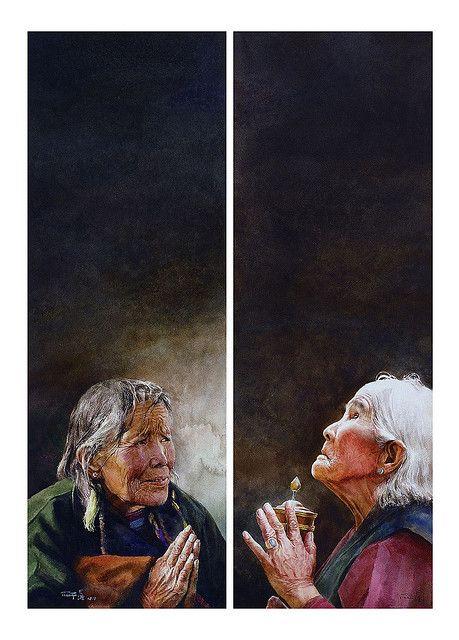 """""""Praying""""by Zhou Tianya."""