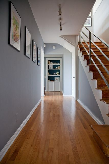 Grey walls, solid oak doors, white skirting board and modular floor -  colour scheme - Grey Walls, Solid Oak Doors, White Skirting Board And Modular