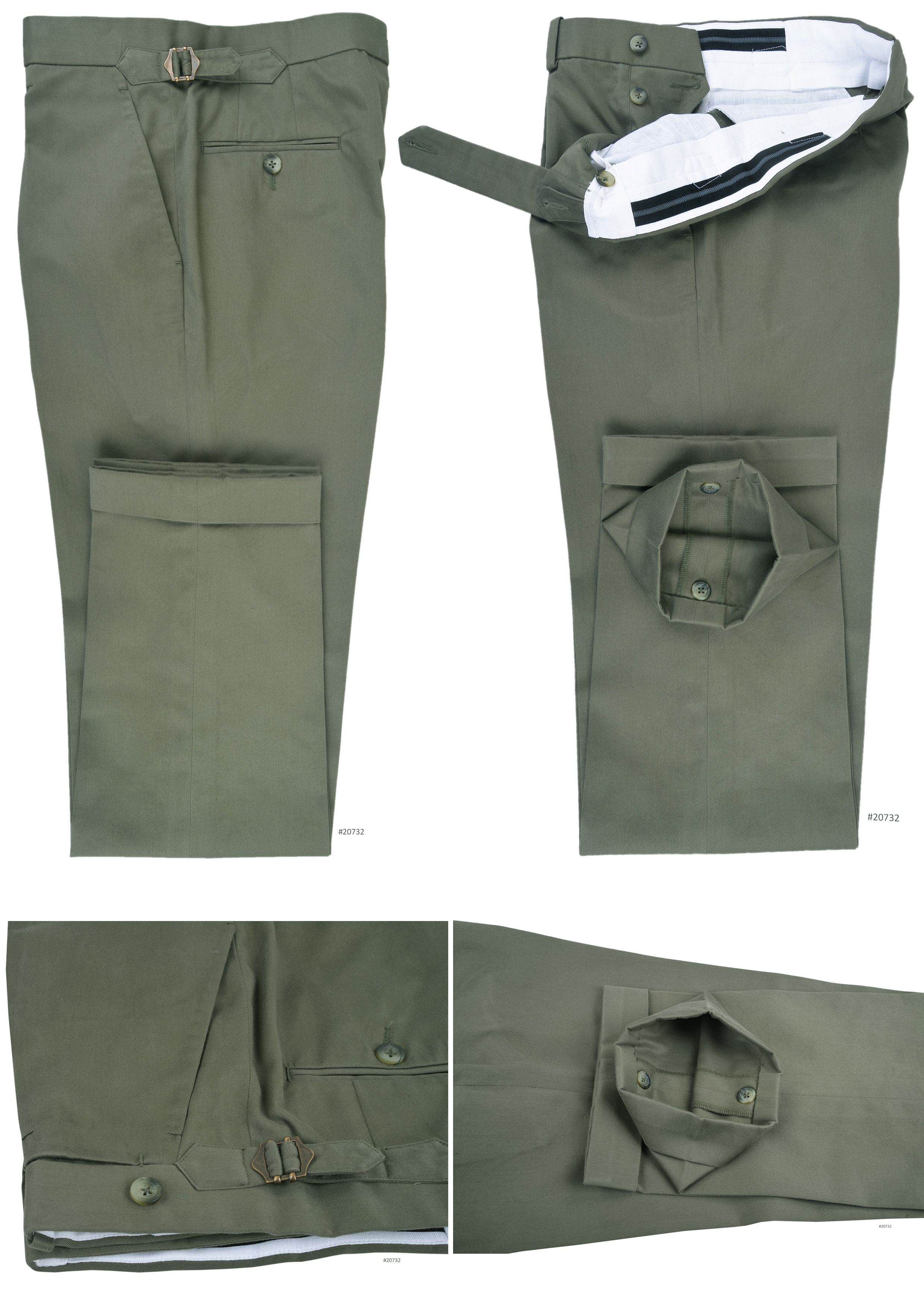 c50b6a08361 Brisbane Moss Lovat Green Twill Neatly constructed pants in 100% cotton.  Features  Extra long extended closure with side metal adjusters.