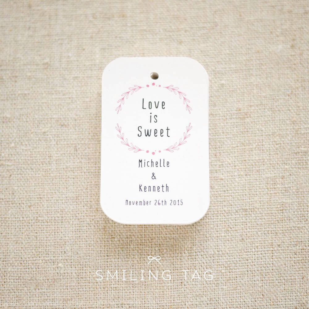 Love is Sweet Personalized Gift Tags - Laurel Wreath Wedding Favor ...