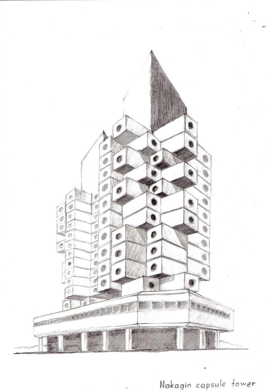 A 3d Sketch Of The Nakagin Capsule Tower Architect Kisho