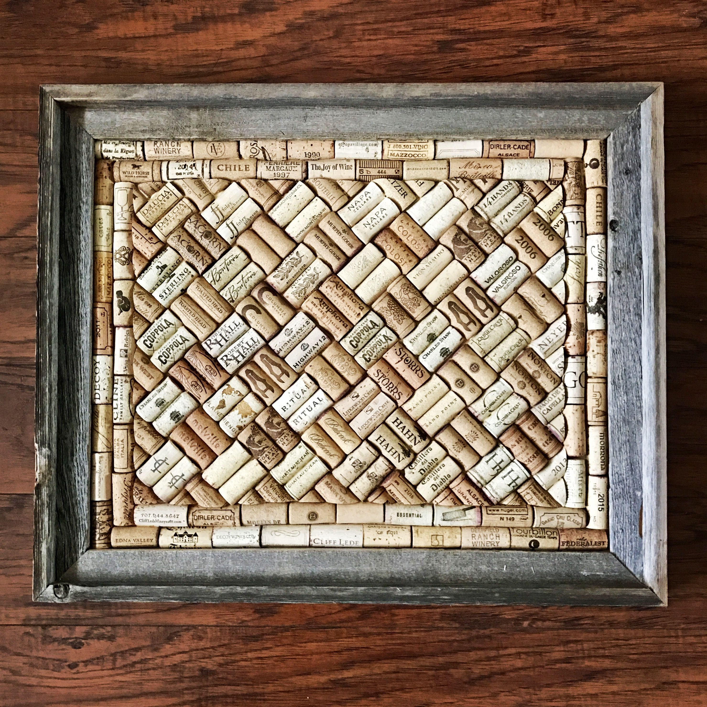 Wine Cork Board In A Barnwood Frame - Rustic Home