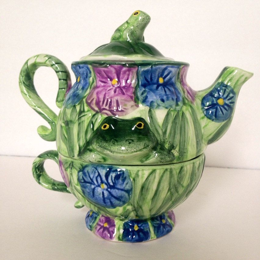 3 pc Whimsical Silvestri Tea For One Frog & Flower by Ornamentric