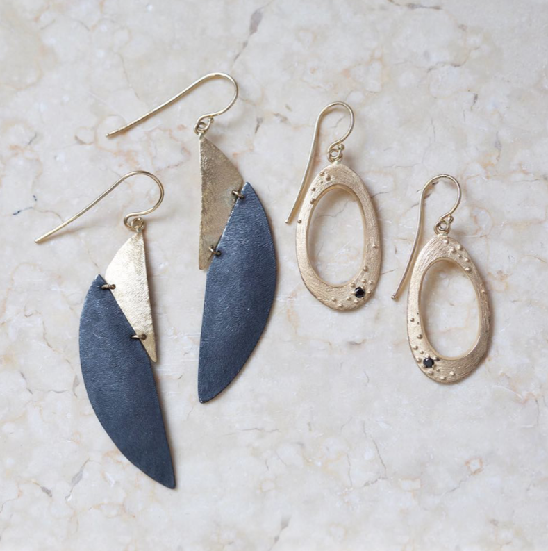 Handcrafted In Austin And Ready To Ship Shaesby 14k Yellow Gold Oxidized Sterling Silver