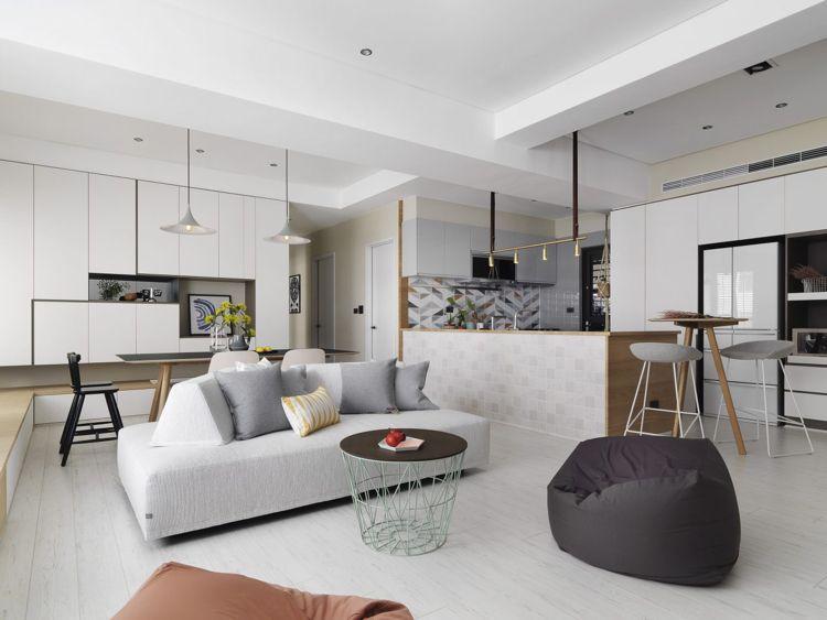 weisses laminat graue schattierungen hell offenes wohnkonzept küche - Laminat Grau Wohnzimmer