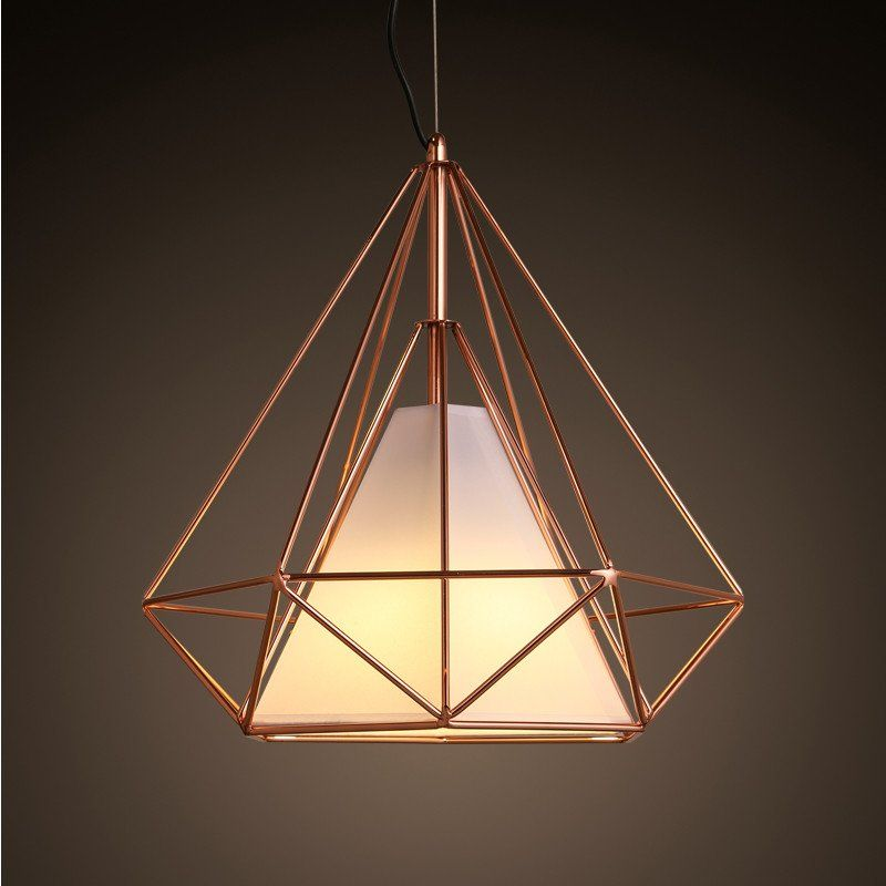 Minimalist And Ultra Chic Pendant Light Featuring Geometric Diamond Shape Electro Plated With Copper Cage Pendant Light Wire Cage Pendant Light Pendant Light