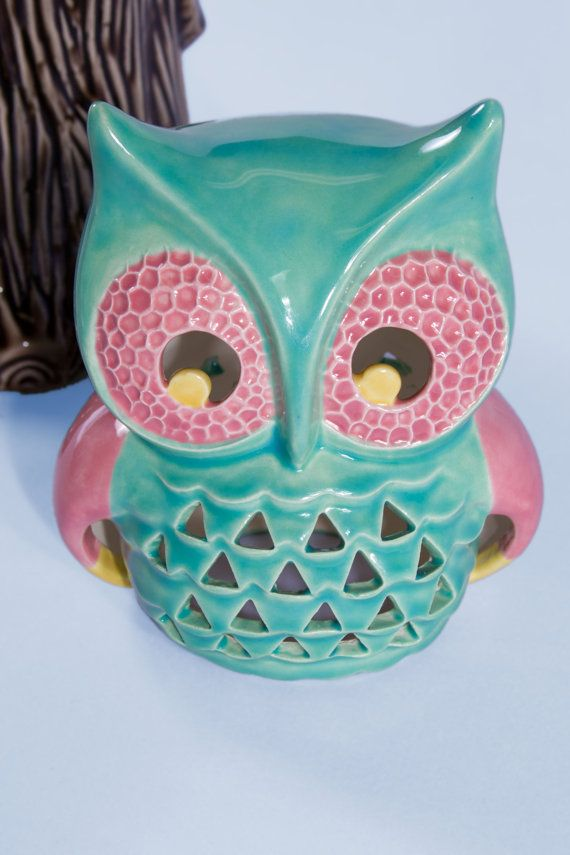 Ceramic Vintage Lantern Owl, Turquoise, Pink and Yellow