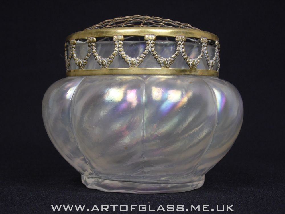 John Walsh Walsh Art Nouveau Antique iridescent glass rose bowl vase