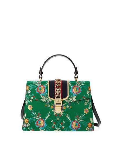 5ce35ca0261a V3FEY Gucci Sylvie Tokyo-Print Top-Handle Satchel Bag, Multi ...