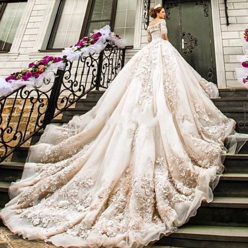 Fancy  New Stunning Long Sleeves Wedding Dresses Bateau D Floral Appliques Cathedral Train Luxury Arabic