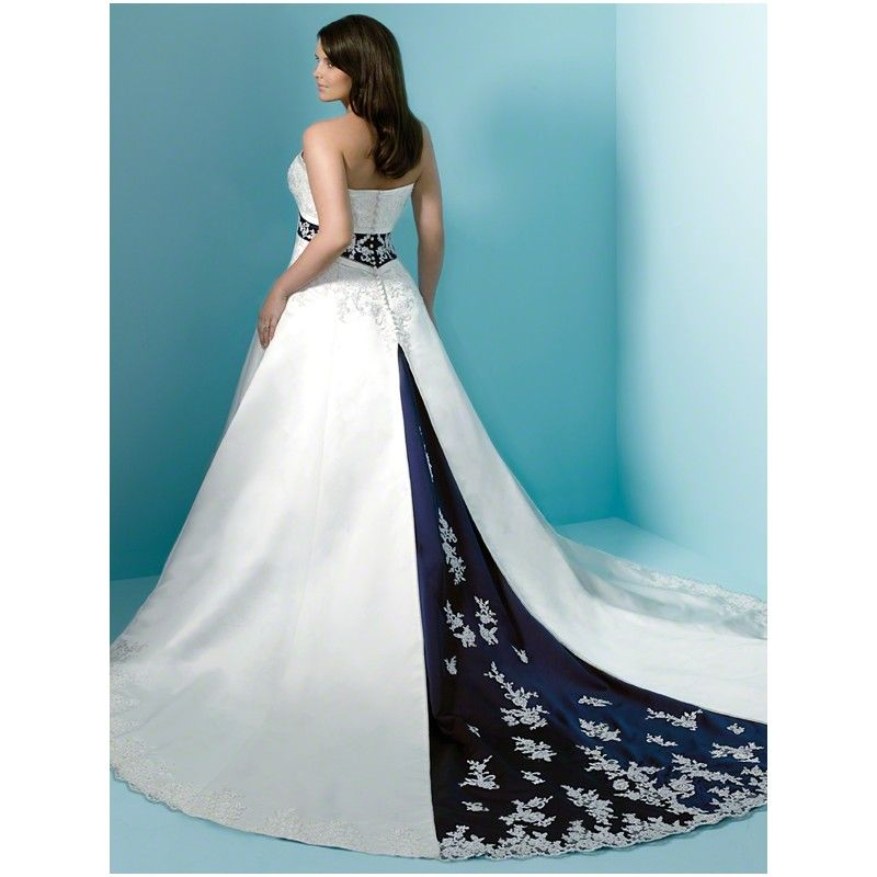 Wonderful Cheap Plus Size Blue and White Lace Wedding Dress ...