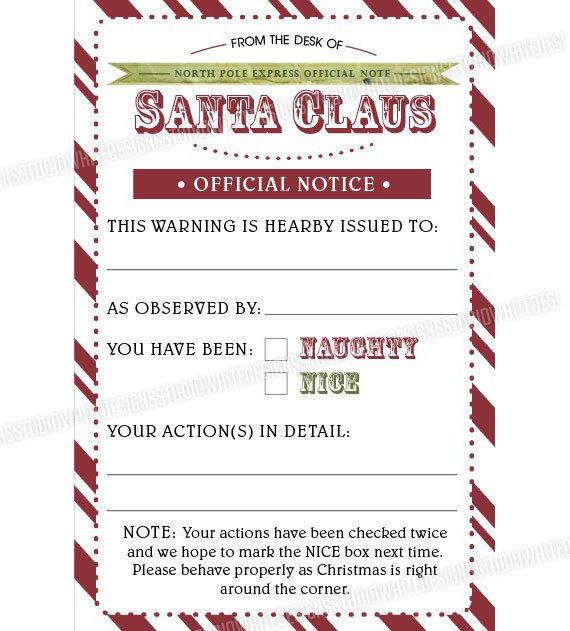 Children Checklist Xmas Eve Fun Santa Christmas Naughty or Nice Calendar