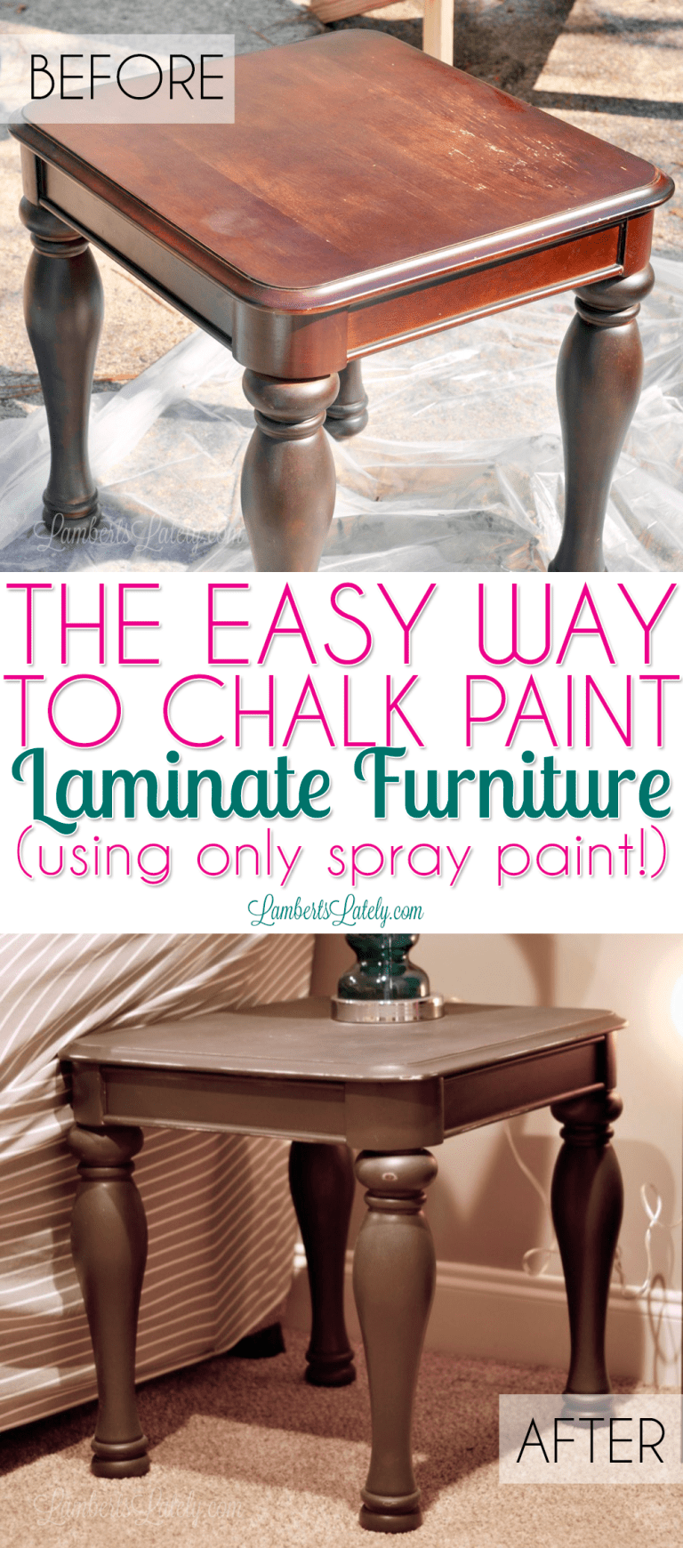 The Easy Way to Chalk Paint Laminate Furniture (using only spray paint!)   Lamberts Lately