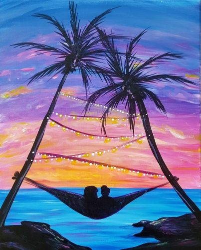 Tropical Painting With Hammock And Palm Trees At Sunset