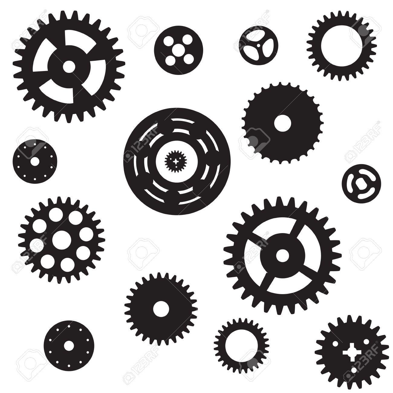 Pin on Gears, Clocks, Keys Silhouettes, Vectors, Clipart