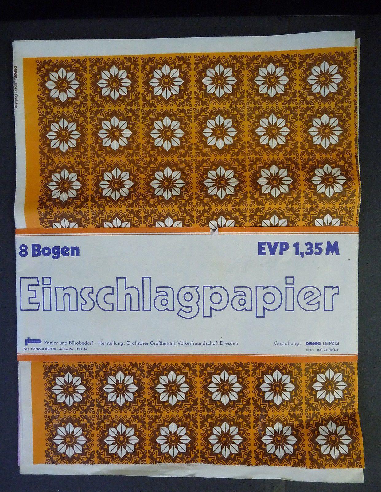 Einschlagpapier Geschenkpapier DDR 5 Bögen 3 Muster ca. 1970 • EUR 19,90 - PicClick DE