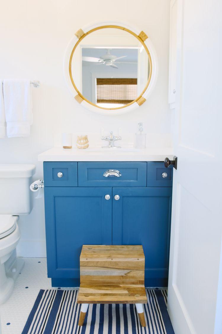 Montara Mirror - Teak Step Stool - blue - white - nautical ...