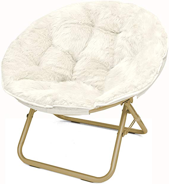 Amazon.com: Urban Shop Faux Fur Saucer Chair With Metal