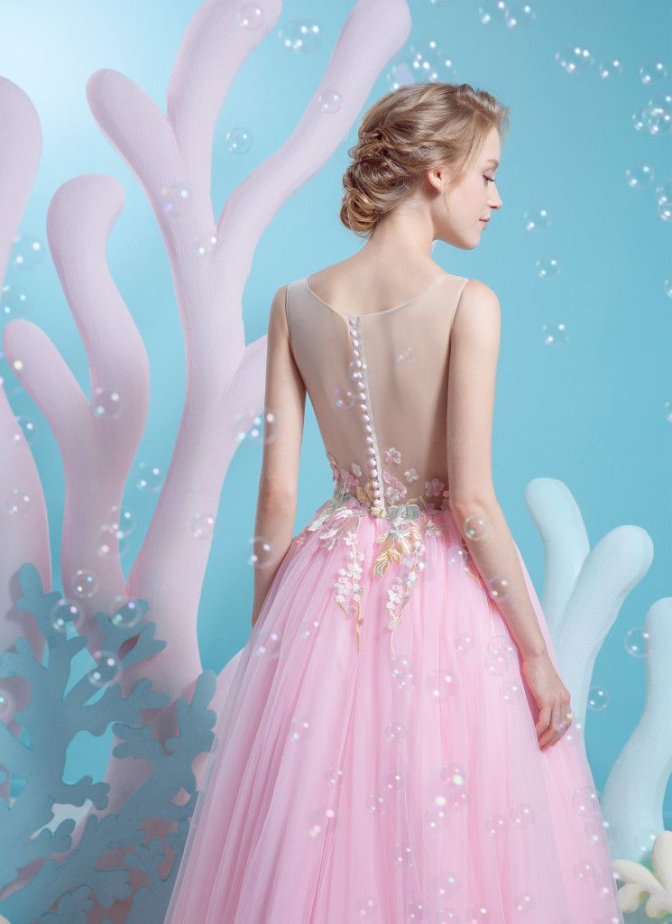 Illusion neckline with soft floral embroidery and low back. Blush ...