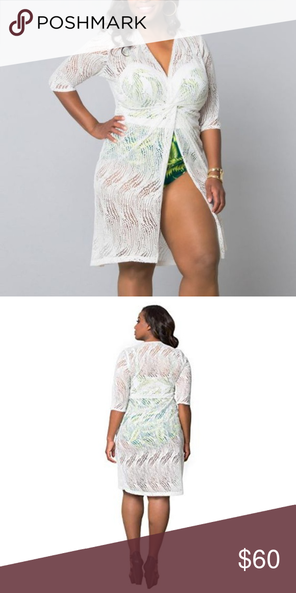 db452dfe86 Kiyonna Beach Cover Up Crochet Top White New Welcome to feminine style with  this white crochet