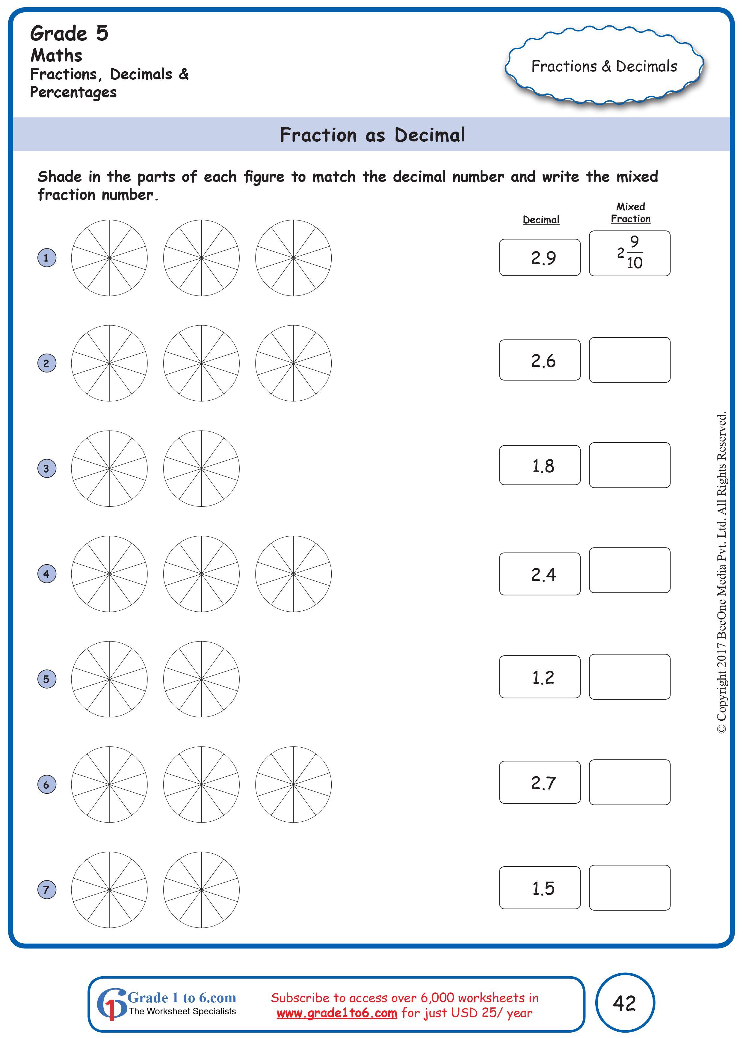 Fractions As Decimals Grade 5 Math Free Math Worksheets Math Worksheets Math Fractions Maths worksheet for class fraction