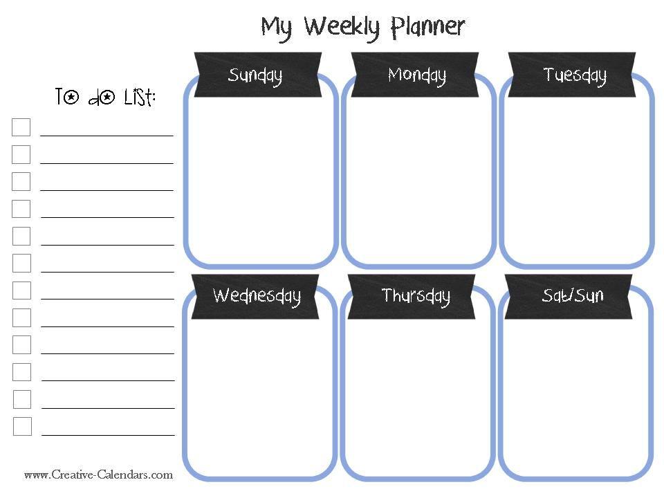 printable weekly school schedule