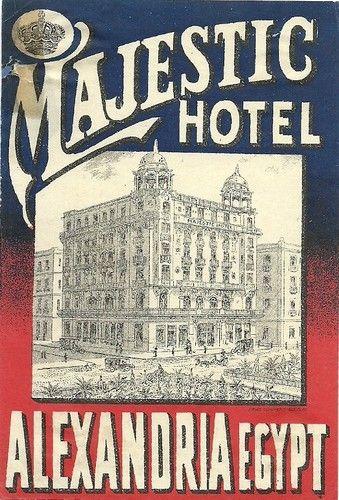 Majestic Hotel, Alexandria, Egypt luggage label