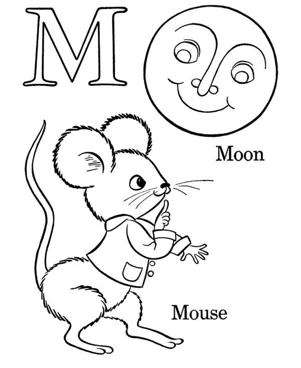 Letter M, Words Starts with Letter M Coloring Page: Words