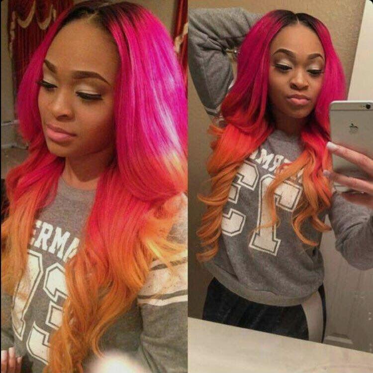Pink & Orange ombré hair Hair styles, Hair, Love hair