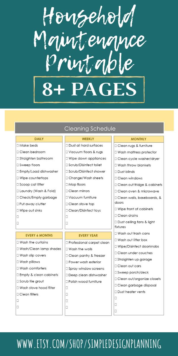 Photo of Druckbare Checklisten für die Hausinstandhaltung, wöchentlicher monatlicher und jährlicher digitaler Download Checklisten, Aufgabendiagramme