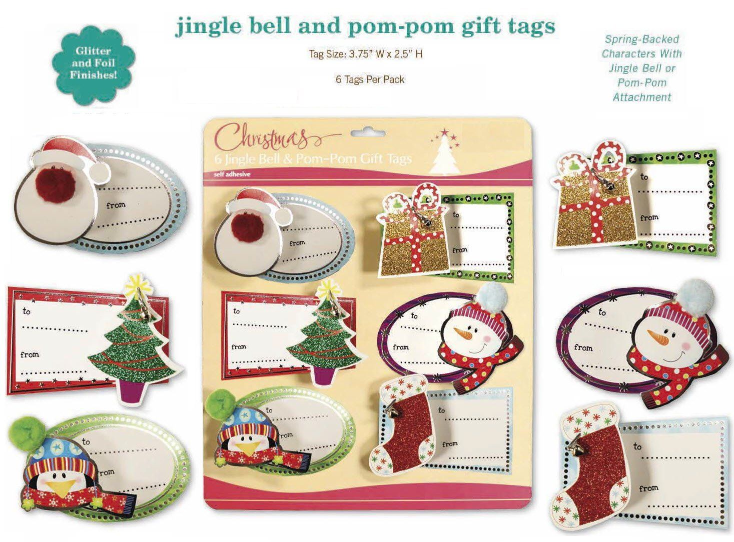 Christmas Gift Tags Embelished Sparkle Glitter Holiday Present Name ...