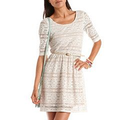 Belted 3/4 Sleeve Lace A-Line Dress at Charlotte Russe