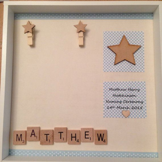 Christening newborn frame baby boy girl personalised scrabble tiles and photo…
