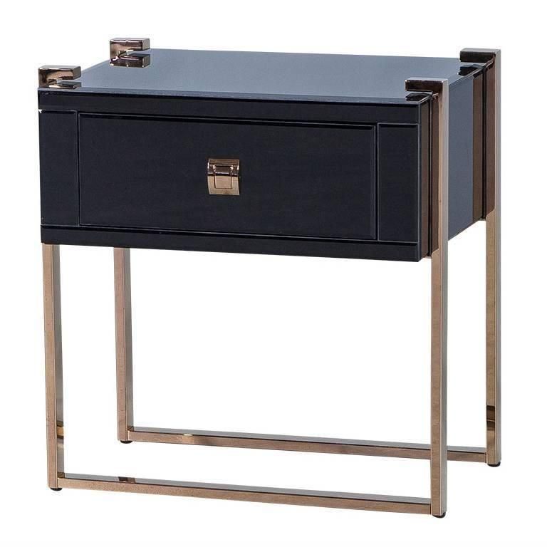 Best Black Glass Nightstand On Copper Legs From A Unique 400 x 300