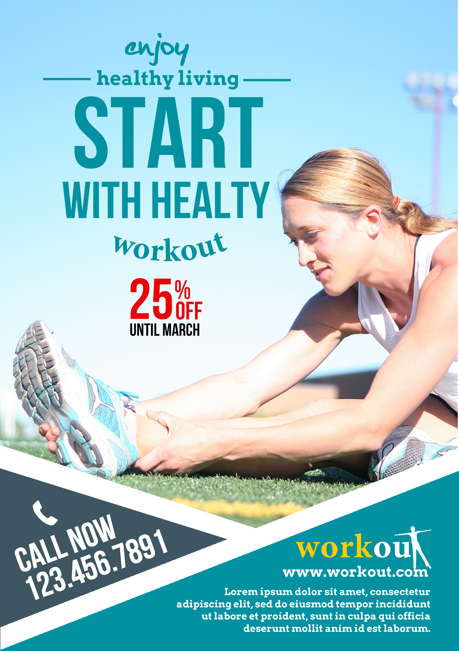 template for flyer a5 created with youzign fitness theme
