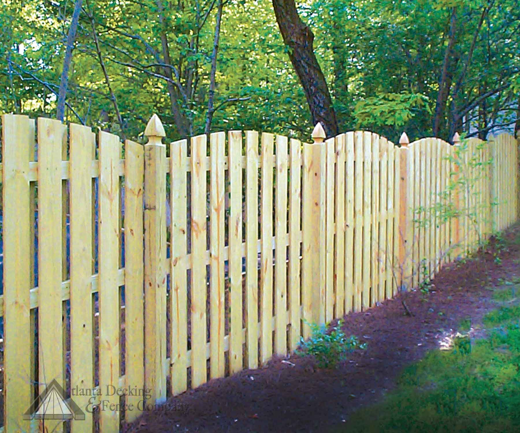 Positive Arch Shadow Box Fence With French Gothic Posts From Atlanta Decking And Fence Company Fence Design Shadow Box Fence Garden Yard Ideas