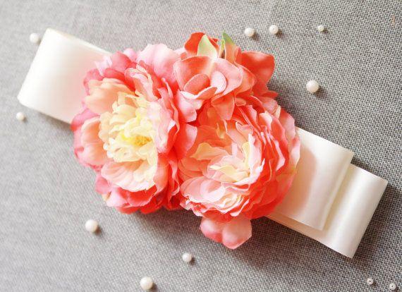 Bridal Ribbon Sash Belt - Wedding Dress Sashes Belts - Cherry Coral Pink Champagne Mixed Bunch Flowers