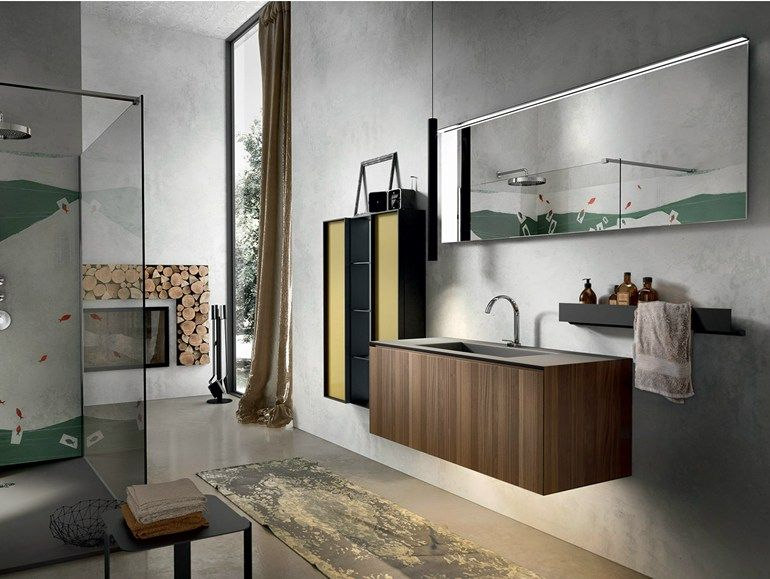Wall mounted walnut vanity unit with cabinets chrono 306 chrono collection by edon by agor - Agora mobili bagno ...