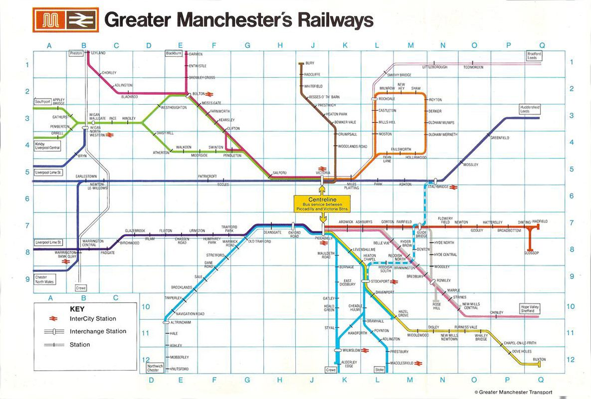 Manchester Train Map Greater Manchester train network. | Train enthusiast | Train map  Manchester Train Map