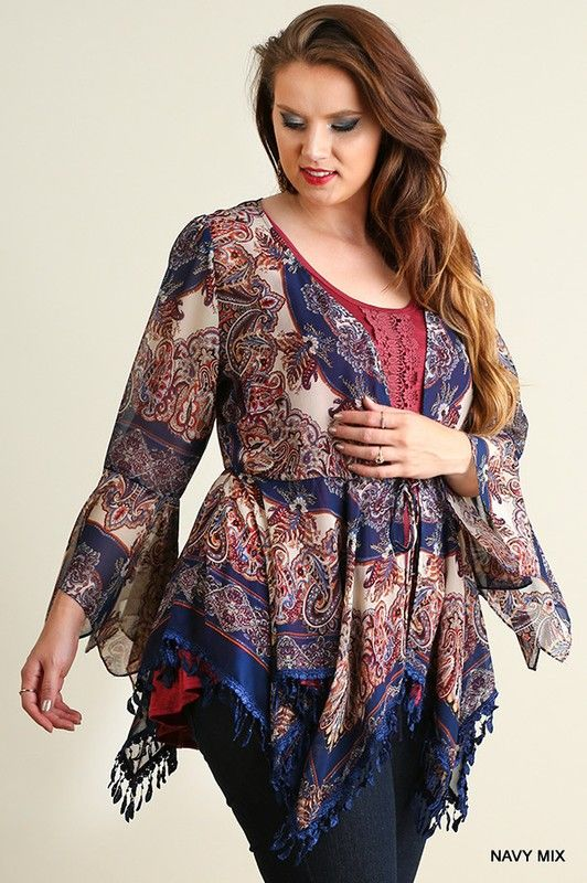 61df4398c9cdb Umgee Plus Navy Paisley Print Sheer Open Front Cardigan with Tie at  Waistline Stylish Plus Size